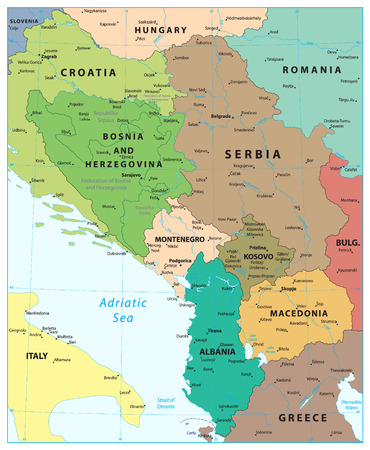 Central Balkan Region Map. Vector illustration.