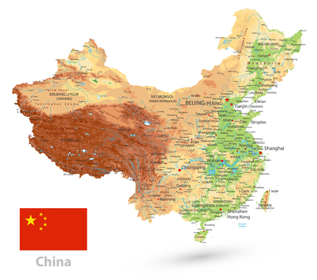 China Physical Map. Isolated on white. High detailed China Relief map with labeling.
