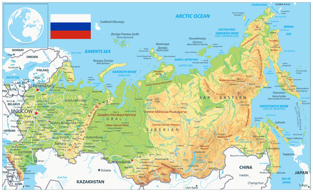 Russia Physical Map. Highly detailed map vector illustration. Image contains layers with shaded contours, land names, city names, water objects and its names, highways. Illustration