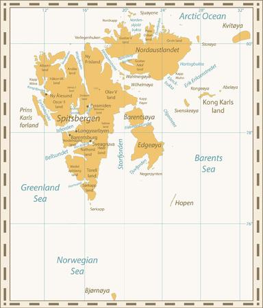 Svalbard Map Retro Colors. Vector illustration.