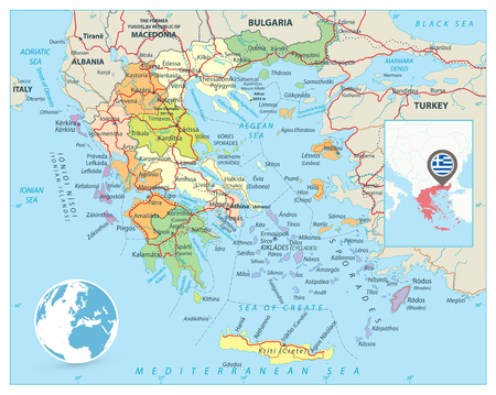Greece Political Map. Detailed vector map of Greece with roads, highways and roads.