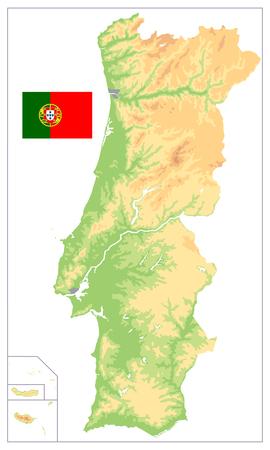 Carte physique du Portugal isolée sur blanc. Pas de texte. Illustration vectorielle détaillée de la carte.