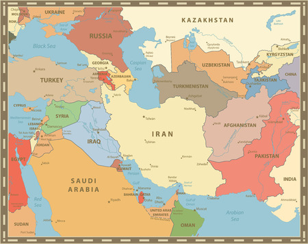 Southwest Asia Map Vintage Color. Detailed vector map of South West Asia.