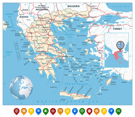 Greece Map and Colorful Map Markers. Detailed vector map of Greece with roads, highways and roads.