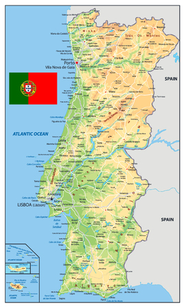 Portugal Physical Map. Detailed vector illustration of map.