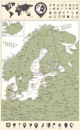 Northern Europe Map and World Map with navigation icons. Highly detailed vector illustration. Standard-Bild - 113964009