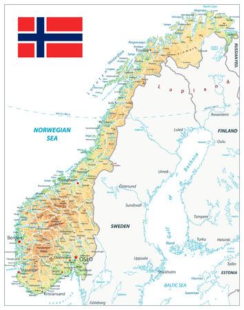 Norwegen physische Karte isoliert auf weiss. Sehr detaillierte Kartenvektorillustration. Das Bild enthält Ebenen mit schattierten Konturen, Landnamen, Städtenamen, Wasserobjekten und deren Namen, Autobahnen.