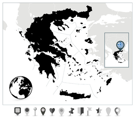 Greece Black Map and Flat Map Markers. Detailed vector map of Greece and navigation icons. Çizim