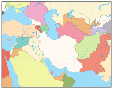 Southwest Asia Map. No text. Detailed vector map of South West Asia. 矢量图像
