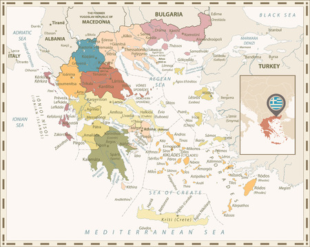 Greece Political Map Retro Colors. Detailed vector map of Greece.