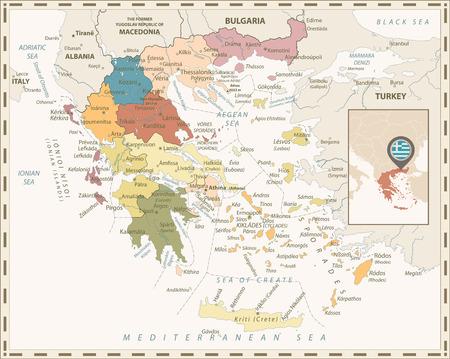 Greece Political Map Retro Colors. Detailed vector map of Greece.