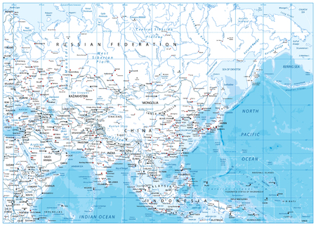 Asia detailed map with rivers, lakes and elevations.