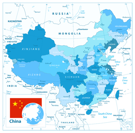 China Map in Colors of Blue. Detailed vector map of China.
