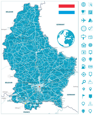 Road map of Luxembourg with navigation icons. Highly detailed vector illustration.