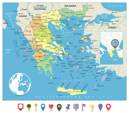 Greece Political Map and Flat Map Markers. Detailed vector map of Greece and navigation icons.