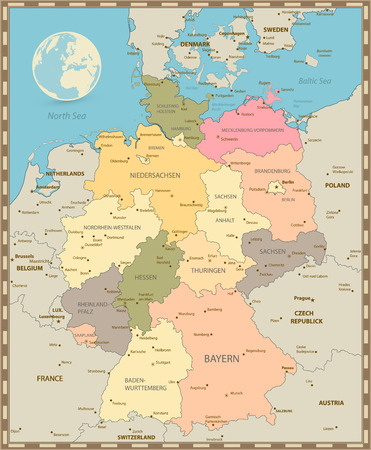 Old vintage color map of Germany. Vector illustration.  イラスト・ベクター素材