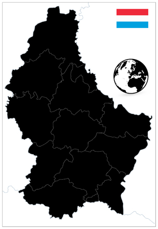 Luxembourg Black Color Map. No text. Highly detailed vector illustration. Vectores