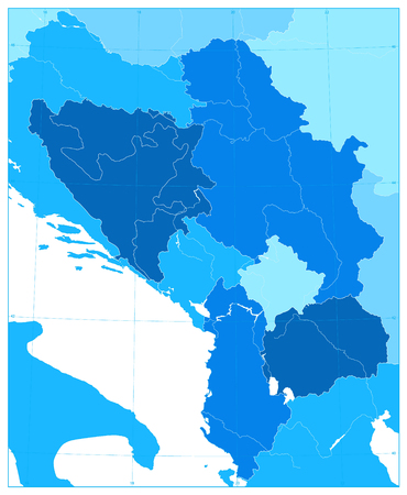 Central Balkan Region Map in Colors Of Blue. No text. Vector illustration. Ilustrace