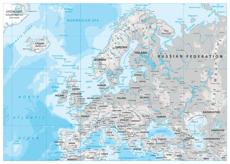 Europe Physical Map. White and Gray. Detailed vector illustration of Europe Physical Map.