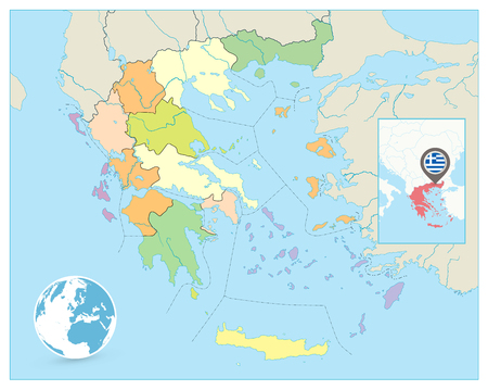 Greece Political Map. No text. Detailed vector map of Greece. Çizim