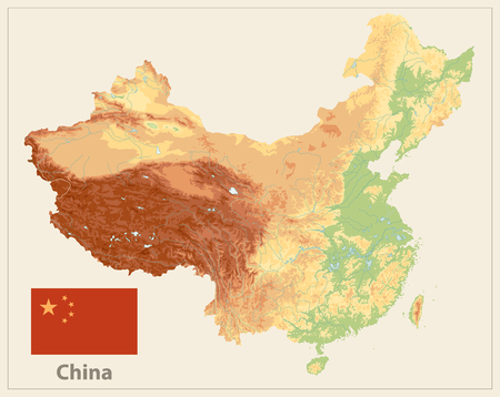 China Physical Map Isolated On Retro White Color. High Detailed Relief Map of China. Ilustrace