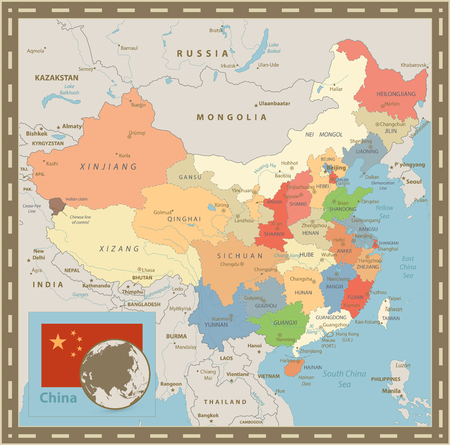 China Political Map. Vintage Color. Detailed vector map of China with cities, rivers and lakes.