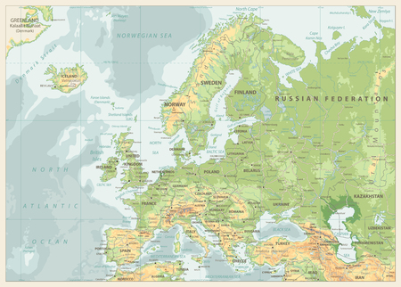 Europe Physical Map. Retro Colors. Detailed vector illustration of Europe Physical Map.