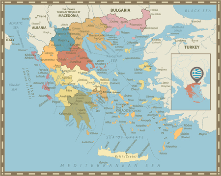 Greece Political Map Vintage Colors. Detailed vector map of Greece. Illustration