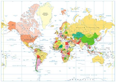 Carte du monde colorée isolée sur blanc avec étiquetage. Illustration vectorielle.