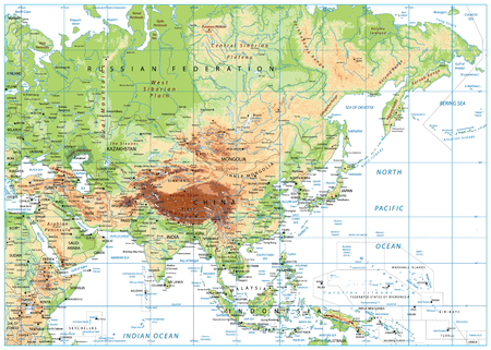 Asia Physical Map Isolated on White. Vector illustration.