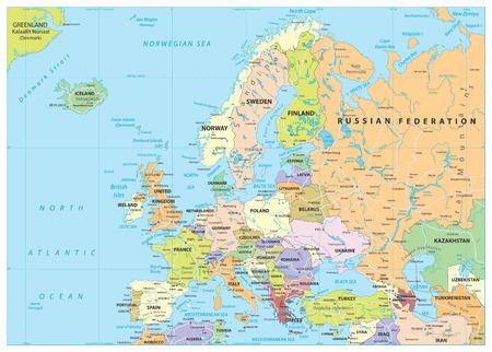 Carte politique et routes de l'Europe. Illustration vectorielle détaillée de la carte de l'Europe.