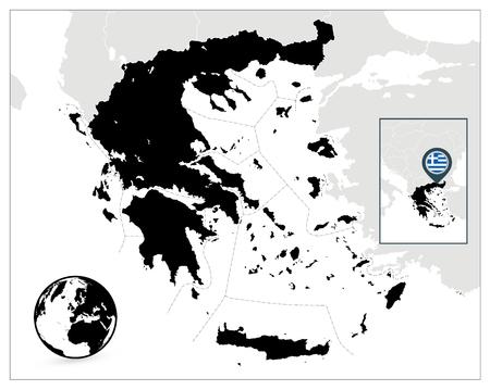 Griechenland schwarze Karte. Detaillierte Vektorkarte von Griechenland und Navigationssymbole. Vektorgrafik