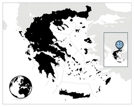 Greece Black Map. Detailed vector map of Greece and navigation icons. Illustration