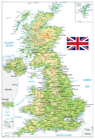 Physische Karte des Vereinigten Königreichs mit Städtenamen, isoliert auf weiss Vektor-Illustration.