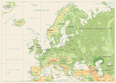 Europe Physical Map. Retro Colors. No bathymetry. Detailed vector illustration of Europe Physical Map.