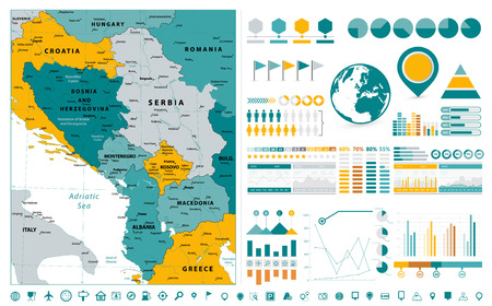 Central Balkan Region Map Infographics design elements. On white. Business template in flat style for presentation, booklet, website and other creative projects. Illustration
