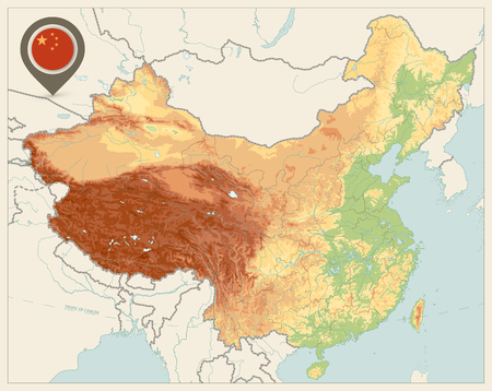 China Physical Map Retro Colors. No text. High detailed China Relief map with labeling.