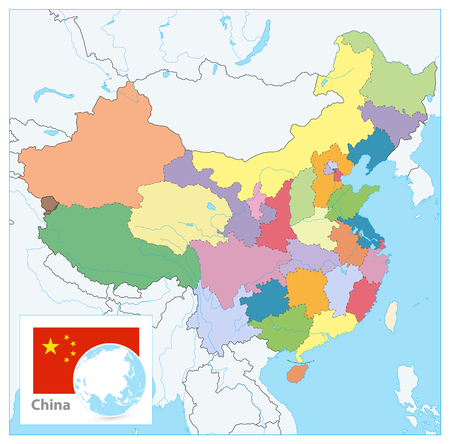 China Political Map. No text. Detailed vector map of China with cities, roads, railroads, rivers and lakes. Illustration