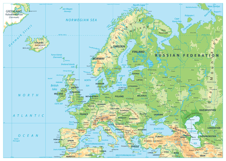 Europe Physical Map. No bathymetry. Detailed vector illustration of Europe Physical Map. Ilustrace