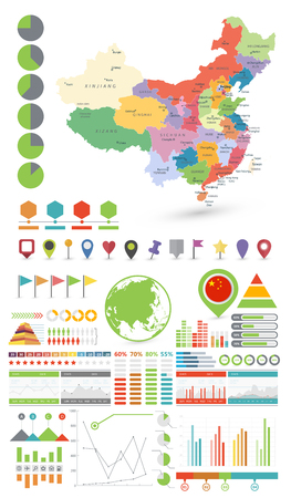 China map and Infographics design elements. Business template in flat style for presentation, booklet, website and other creative projects. Ilustração