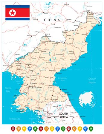 Mapa de Corea del Norte y punteros de mapa. Ilustración vectorial. Ilustración de vector
