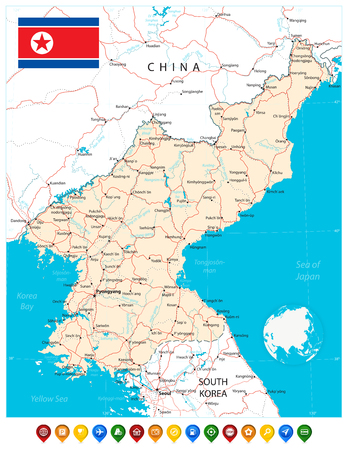 North Korea map and map pointers. Vector illustration. Stock Vector - 126811449