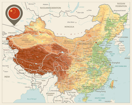 China Physical Map Retro Colors. High detailed China Relief map with labeling.