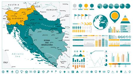 Westbalkan-Karte und Infografik-Designelemente. Auf weiß. Geschäftsvorlage im flachen Stil für Präsentation, Broschüre, Website und andere kreative Projekte.