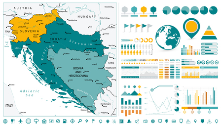 Western Balkans Map and Infographics design elements. On white. Business template in flat style for presentation, booklet, website and other creative projects.