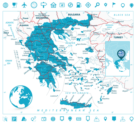 Greece Map and Navigation Icons. Detailed vector map of Greece with roads, highways and roads. Illustration