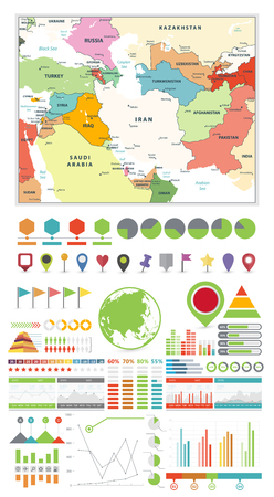 Sothwest Asia map and Infographics design elements. Business template in flat style for presentation, booklet, website and other creative projects.