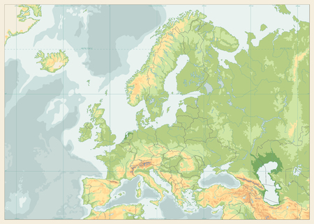 Europe Physical Map. Retro Colors. No text. Detailed vector illustration of Europe Physical Map.