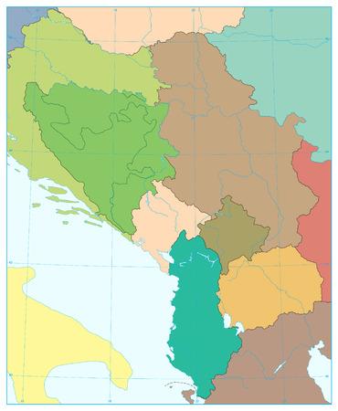 Central Balkan Region Map. No text. Vector illustration.