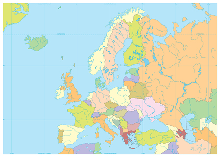 Europe Political Map. No text. Detailed vector illustration of Europe Map.